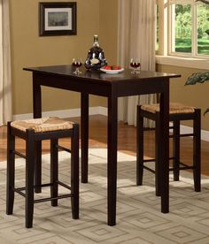 Pub Dining Set 3 Piece Bar Chairs Table Kitchen Furniture Counter Height Stools #Linon #Contemporary