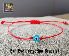 Mini Evil Eye Bracelet, Evil Eye Protection, Red String Bracelet, Choose Red or Black Cord Red String Bracelet, Simple Bracelets, Evil Eye Bracelet, Eye Protection, Bead Shop, Heart For Kids, Black Nylons, Paracord, Eyes