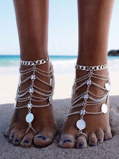 Antique Silver Layered Coin Punk Foot Chain 1pcs