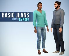 Basic Jeans and Rolled Jeans for The Sims 4   Hi !    I needed more color for the base game skinny jeans, but I wasn't satisfied by the original belt. As we are now able to edit the normal map,(and delete the specular), I replaced it by a simple black belt. I also created a second version of the jean, based on the rolled chino mesh.    These Jeans are available for teen to elder, with 11 colors.    I hope you will like it !        Download : SimFileShare or Medifire        And if you like…