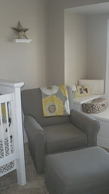 Love this style of gray chair with glider!