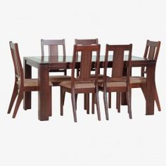Juego Comedor Málaga (Chocolate) Glass Dining Room Table, Dining Table Design, Chocolate, Furniture, Home Decor, Modern Dining Rooms, Chairs, Design Table, Kitchens