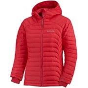 Women's Powerfly™ Down Jacket Body Heat, Columbia, Cold Weather, Winter Jackets, Hoodies, Hibiscus, Women, Red, Fashion