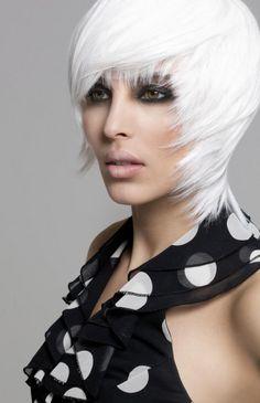 Medium avant garde white bob hairstyle