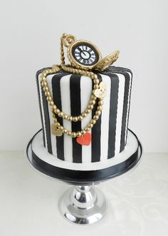 "Mad hatter pocket watch wedding by Cake Whisperer - would be better if it was a more ""traditional"" Hatter Hat."