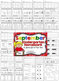 Kindergarten Homework for September.  Could also be used for morning work. 26 alphabet and 26 math pages.