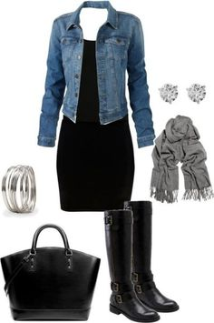 Black dress, denim jacket, grey jewelry, gray scarf, black boots outfit