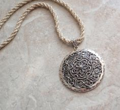 Sterling  Mandala Pendant Beaded Rope Necklace by cutterstone