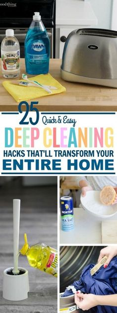 These 25 hacks will show you how to deep clean your entire home in the easiest way possible. They avoid harsh chemicals too!These 25 Deep Cleaning Hacks Will Get Your Home Squeaky Clean in no Time! Speed Cleaning, Cleaning Day, Deep Cleaning Tips, House Cleaning Tips, Natural Cleaning Products, Spring Cleaning, Cleaning Hacks, Kitchen Cleaning Tips, Fridge Cleaning