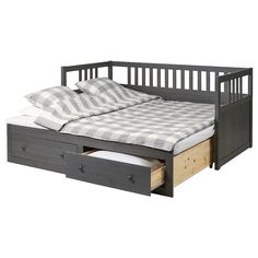 HEMNES Daybed frame with storage - dark gray stained - IKEA