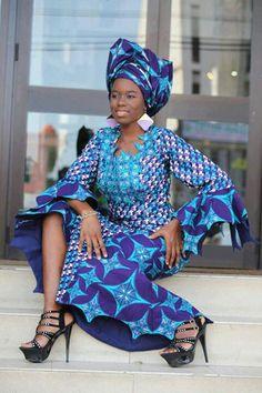 African long dress: blue