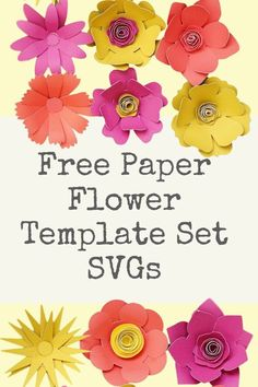 cricut free flower svg, paper flower template idea Free Paper Flower Templates, Paper Flower Patterns, Paper Flower Tutorial, 3d Paper Flowers, Rolled Paper Flowers, How To Make Paper Flowers, Flower Svg, Flower Crafts, Floral Letters