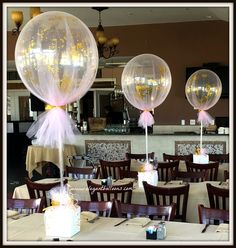 tulle covered balloons with glitter and confetti #elegantballoons