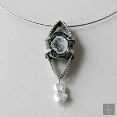 Geode Pendant Sterling Silver and Pearl necklace. Handmade