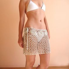 Lace beach skirt  Crochet beach wrap skirt Mini by KnittedSmiles, $47.00