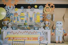 Awesome dessert table at a robot birthday party! See more party ideas at CatchMyParty.com!