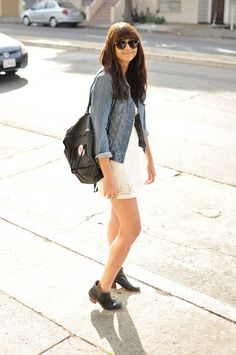 Fjallraven Bag, White Lace Dress, Sunnies, and Booties