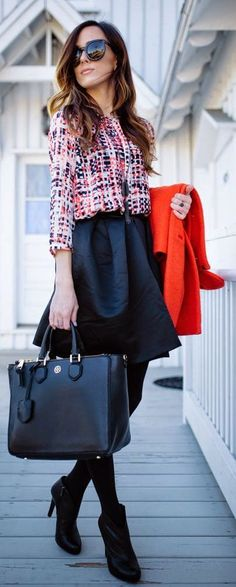 Red Accent Winter Outfit