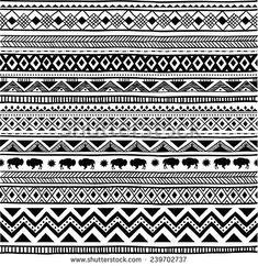 Aztec tribal seamless black and white hand drawn pattern