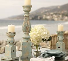 Check out how to create distressed pillar candle holders from some wood candle holders! Diy Candles, Pillar Candles, Beeswax Candles, Wooden Candle Holders, Diy Wood Projects, Furniture Projects, Candlesticks, Candleholders, Candlestick Park