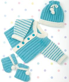"Newborn Layette - Required Supplies: RED HEART® ""Designer Sport™"": 2 skeins each 3801 Aqua Ice A and 3101 Ivory B  (Designer Sport is discontinued) Crochet Hook: 4 mm [US G-6] Stitch markers Yarn needle Pompom maker Additional Supplies Needed:  Four buttons with 5/8"" diameter Pattern Number:	WR1905 Designed By:	Darla J. Fanton Project Type:	Baby / Child"