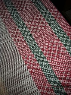 Handwoven Christmas Towels on the loom.