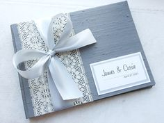 Gray Wedding Guest Book You Choose Bow Color by EnvelopeGuestBooks, $42.00