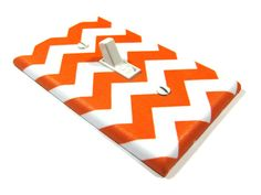White and Orange Chevron Blake Light Switch Cover Modern Home Decor Tangerine Tango Zig Zag