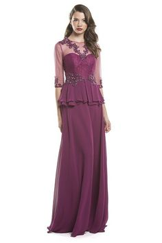 A-Line Long Formal Evening Dress has Illusion Sweetheart Bodice with Peplum Detail and Beading Adorned Neckline, Semi Sheer Back with Zipper Closure, Waistline and Three Quarter Length Sleeve, Solid C