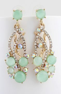 Mint crystal earrings. These are so beautiful.