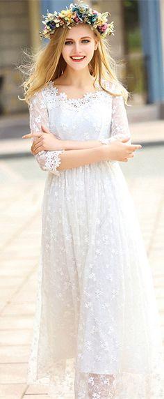 White Embroidered Mesh Maxi Dress