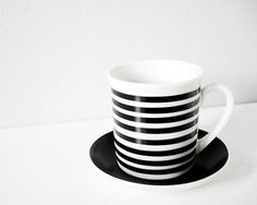 Vintage ceramic black white stripe cup and saucer $16