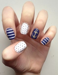 More nautical nails, despite the fact that I should be doing something Easter-y. These were inspired by Infinitely Polished! Navy: China Glaze- First Mate White: OPI- Alpine Snow Gold: Quo by Orly-...