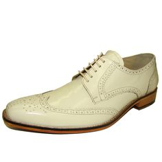 Ivory wing tip oxford dress shoe