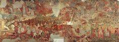 Camposanto Monumentale, Piazza dei Miracoli, Pisa,Tuscany, Italy. Fresco attributed to Buonamico Buffalmacco, 'The Triumph of Death', c. 1338-39