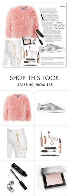 """""""Sin título #1368"""" by dspink on Polyvore featuring moda, Charlotte Simone, Common Projects, Pierre Balmain, Bobbi Brown Cosmetics y Burberry"""
