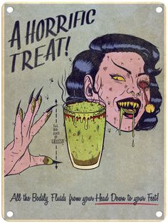 Jenny Richardson -A Horrific Treat - x Metal Print Arte Horror, Horror Art, Horror Films, Vintage Comics, Vintage Art, Bd Pop Art, Wallaper Iphone, Dibujos Pin Up, Arte Peculiar