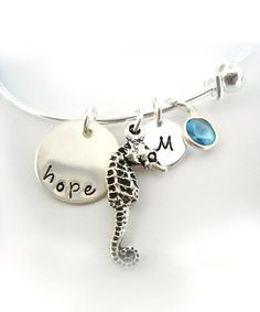 Take a look at this Sterling Silver 'Hope' Seahorse Swarovski Crystal Initial Bracelet by The Sassy Apple on #zulily today!