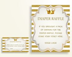 Diaper Raffle Baby Shower Diaper Raffle Royal Baby Shower Diaper Raffle Gold White Baby Shower Gold Diaper Raffle paper supplies Y9MQF - Digital Product #babyshowergifts #babyshowerideas