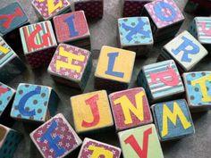 homemade blocks... such a cute idea