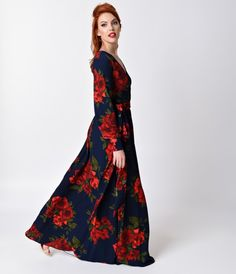 1970s Style Navy Blue & Red Floral Long Sleeve Maxi Dress