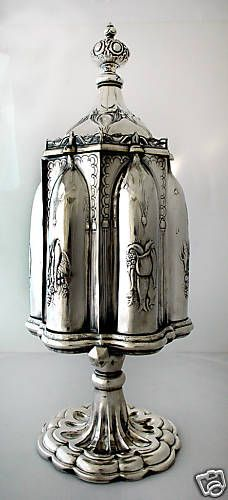 Museum-quality Gothic silver-plate cruet stand by Roswell Gleason of Boston (Dorchester). The MFA has one of these.