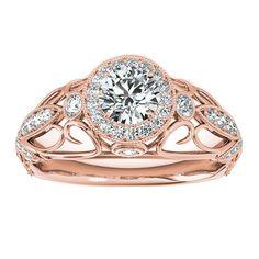 Transcendent Brilliance 14k White, Rose Or Yellow Gold 1 1/3ct TDW White Diamond Antique Style Engagement Ring (F-G, VS1-VS2) (Rose - Size 7.5), Women's