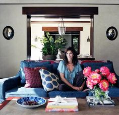 Madeline Weinrib Blue Mu Ikat Pillow in Cindy Crawford's Malibu home