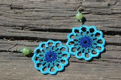 Crocheted Turquoise Earrings by lindapaula on Etsy, €10.00 - Pendientes de ganchillo en azul turquesa.