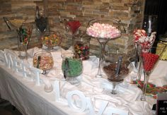 DYI candy bar for your wedding reception midnight snack!