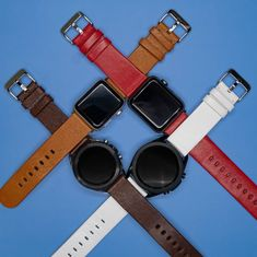 Whether you're looking for genuine leather, eco-friendly leather, or something in-between, we've got you covered! Sports Organization, Leather Watch Bands, Stainless Steel Watch, Watch Brands, Cool Watches, Tech Accessories, Apple Watch, Smart Watch, Eco Friendly
