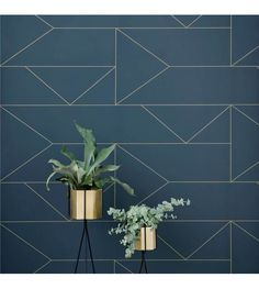 Lines Wallpaper - Dark Blue design by Ferm Living Upgrade your walls with this elegant wallpaper inspired by classic Art Deco. Delicate golden lines create a subtle pattern, adding an exclusive touch Lines Wallpaper, Print Wallpaper, Cool Wallpaper, Wallpaper Roll, Pattern Wallpaper, Wallpaper Paste, Wallpaper Online, Gold Tone Wallpaper, Wallpaper Ideas