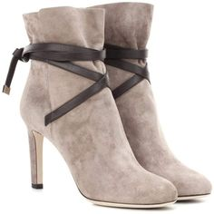 Jimmy Choo Dalal 85 Suede Ankle Boots (251.610 HUF) ❤ liked on Polyvore featuring shoes, boots, ankle booties, brown, brown boots, short brown boots, suede ankle booties, suede bootie and brown booties