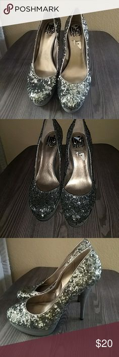 Free press silver sequins shoes Bling bling heels free press Shoes Heels